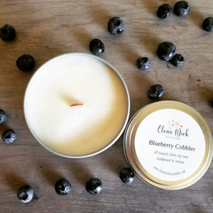 Handpoured Eco Friendly Soy Wax Candle with Woodwick, Blueberry Cobbler