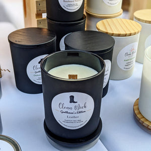 Gentleman's Edition Leather Handpoured Soy Candle with Fire Crackling Woodwick
