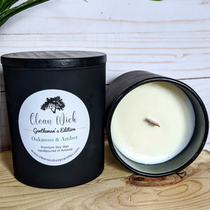 Gentleman's Edition Oakmoss & Amber Handpoured Soy Candle with Fire Crackling Woodwick
