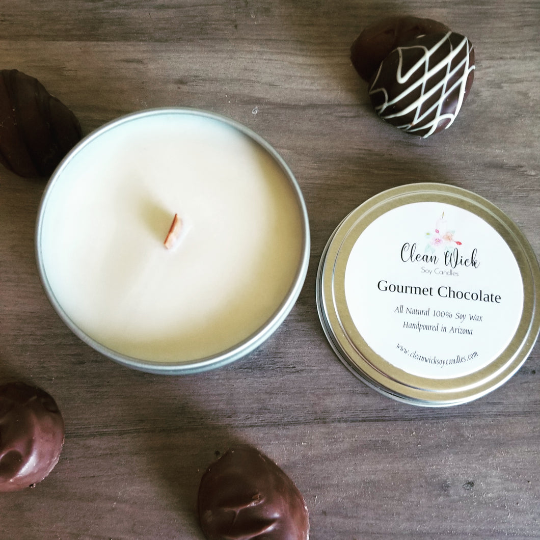 Handpoured Eco Friendly Soy Wax Candle with Woodwick, Gourmet Chocolate