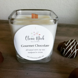 Hand Poured Soy Wax Eco Friendly Candle with Woodwick, Gourmet Chocolate Scent