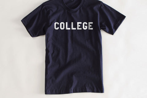 Navy College Vintage T Shirt