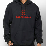 Black & Red Balenciaga Crown Logo Hoodie