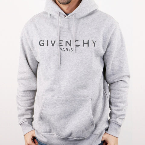 Distressed Givenchy Logo Hoodie in Gray