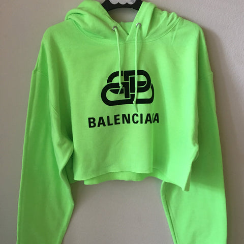 Green Balenciaga Crop Top Hoodie w/ sewn neck tag