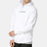White Yves Saint Laurent Thin Logo Hoodie