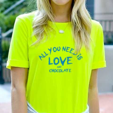 Fluorescent Chocolate Love Oversized Tee