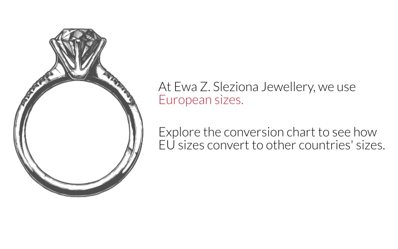 Ring sizes uses at Ewa Z. Sleziona Jewellery
