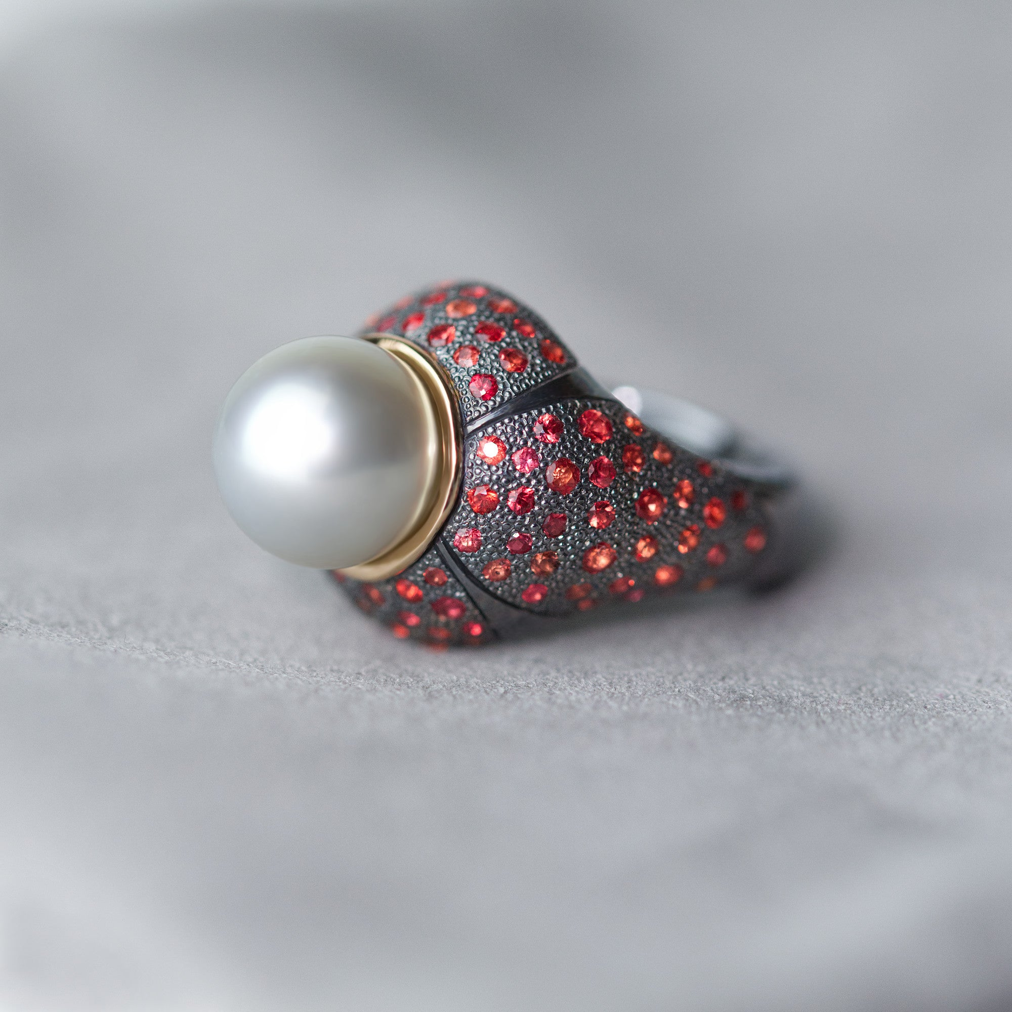 Art Deco Tahitian Pearl Ring with red sapphires made by Ewa Z. Sleziona Jewellery