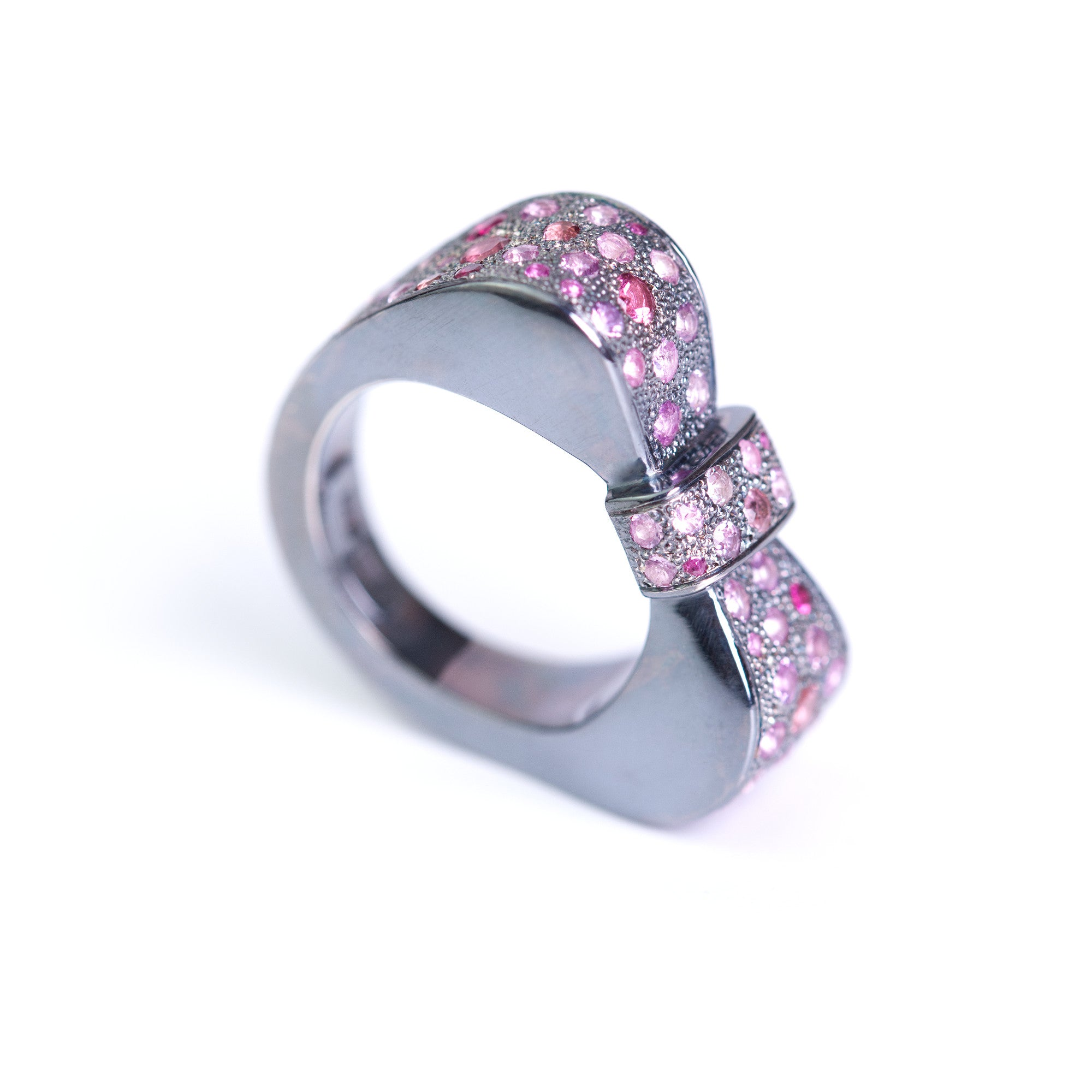 Art Deco Bow Ring with pink sapphires made by Ewa Z. Sleziona Jewellery