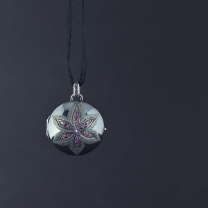 Pink sapphire and tourmaline, sterling silver, one of a kind locket by Ewa Z. Sleziona Jewellery
