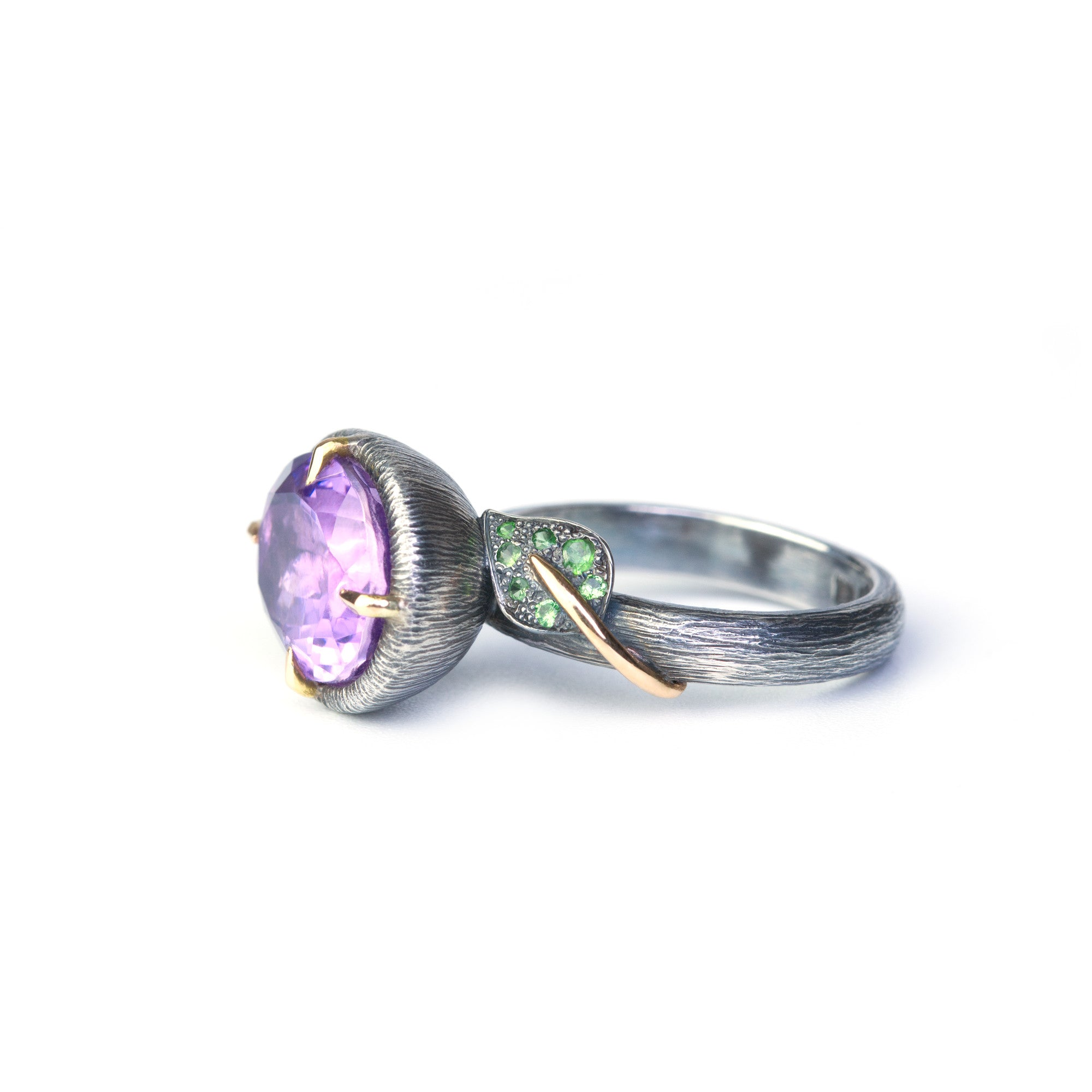 Romantic ring handcrafted in 18K gold and sterling silver with amethyst. Made by Ewa Z. Sleziona Jewellery