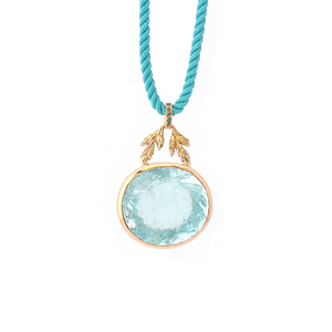 18K gold, hand-crafted pendant with aquamarine, diamonds by Ewa Z. Sleziona Jewellery