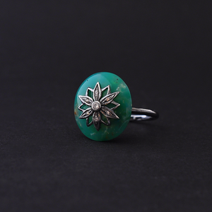 Ring in silver with chrysoprase, brown diamonds by Ewa Z. Sleziona Jewellery