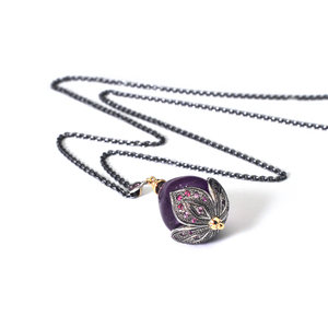Amethyst, Sapphire, Gold & Sterling Silver Necklace by Ewa Z. Sleziona