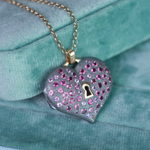 Key to my heart locket, pink tourmaline locket in 18K gold and sterling silver  by Ewa Z. Sleziona Jewellery