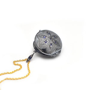 Locket in silver and 18K gold with blue and white sapphires by Ewa Z. Sleziona Jewellery