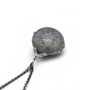 Sterling Silver Locket with Apatite, White Sapphires, Handcrafted by Ewa Z. Sleziona