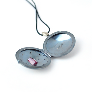 18K white gold, Sterling silver locket with ruby and black diamonds by Ewa Z. Sleziona Jewellery