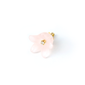 Hand craved rose quartz flower pendant with diamonds in 18K gold by Ewa Z. Sleziona Jewellery