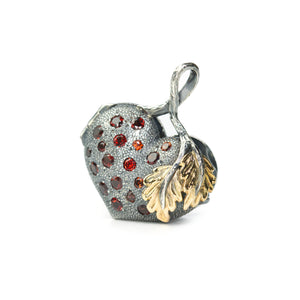 Heart charm locket with red garnets made in 14K and steling silver. Ewa Z: Sleziona Jewellery
