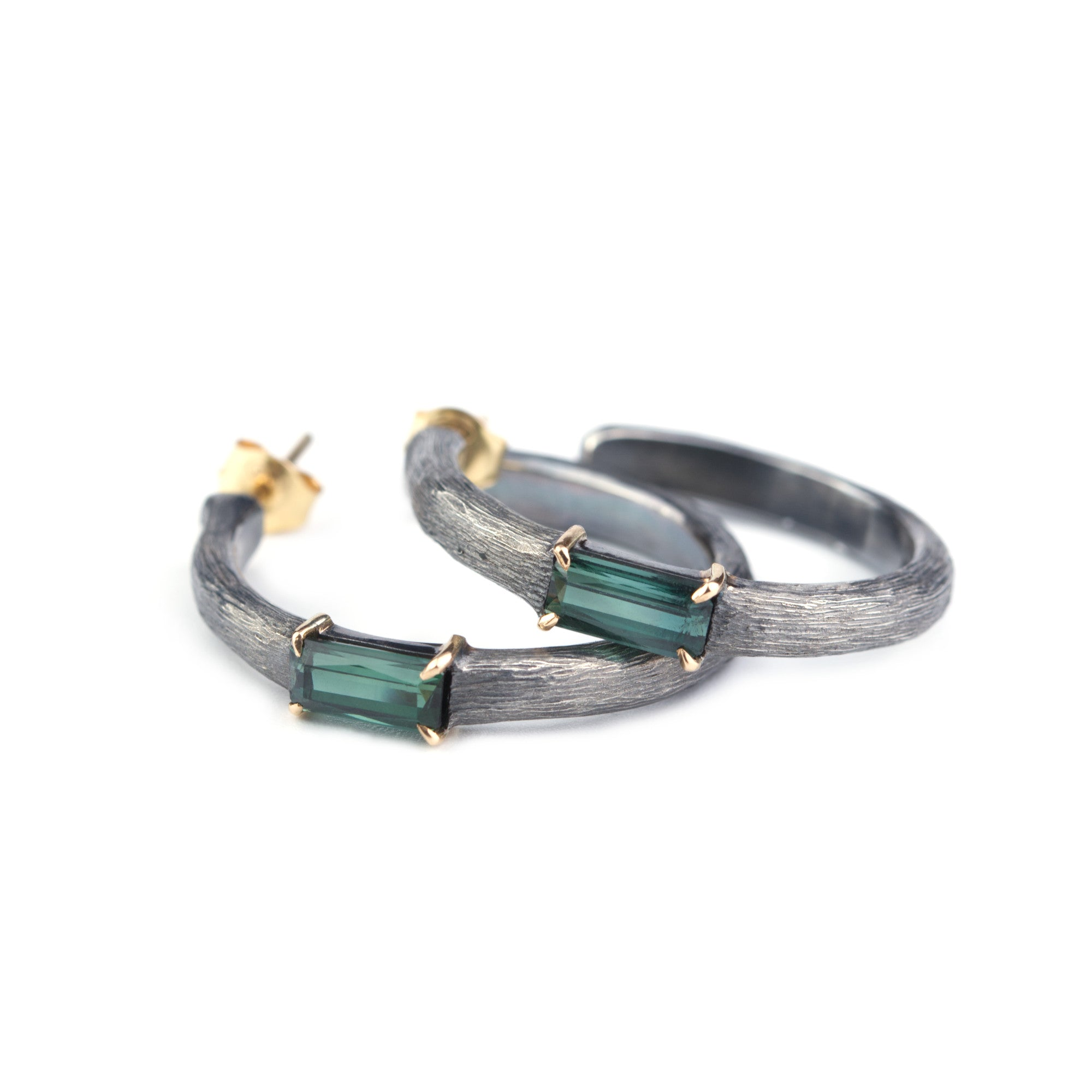 Green tourmaline hoop earrings made in sterling silver and 18k gold by Ewa Z. Sleziona