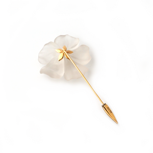 18K gold flower pin with hand-carved rock crystal with white diamonds by Ewa Z. Sleziona Jewels