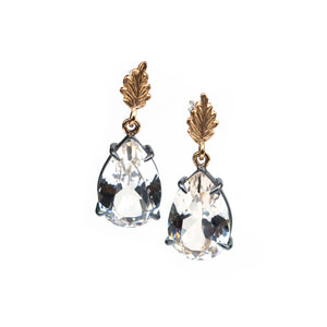One-of-a-kind 18K gold earrings with blackened silver and white topaz by Ewa Z. Sleziona