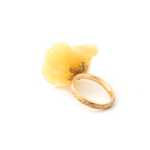 18K gold flower ring with hand-carved opal with yellow diamonds by Ewa Z. Sleziona Jewels