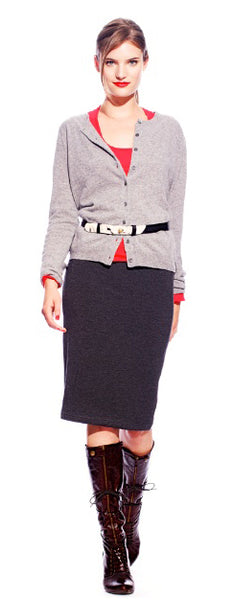 Cashmere Cardigan + Preppy Tee + Pencil Skirt + Cow Print Belt
