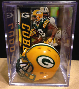 Green Bay Packers NFL mini helmet shadowbox w/ player card - Super Fan Cave