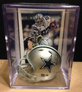Dallas Cowboys NFL mini helmet shadowbox w/ player card