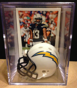 Los Angeles Chargers NFL mini helmet shadowbox w/ player card - Super Fan Cave