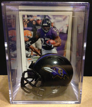 Load image into Gallery viewer, Baltimore Ravens mini helmet shadowbox w/ player card - Super Fan Cave