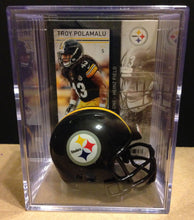 Load image into Gallery viewer, Pittsburgh Steelers NFL mini helmet shadowbox w/ player card