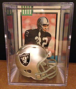 Oakland Raiders NFL mini helmet shadowbox w/ player card - Super Fan Cave