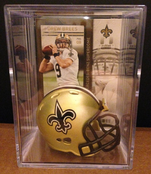 New Orleans Saints NFL mini helmet shadowbox w/ player card - Super Fan Cave