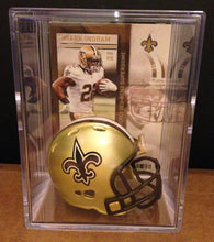Load image into Gallery viewer, New Orleans Saints NFL mini helmet shadowbox w/ player card