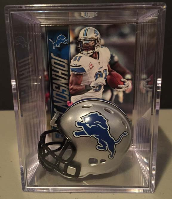 Detroit Lions mini helmet shadowbox w/ player card - Super Fan Cave