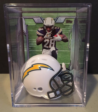 Los Angeles Chargers NFL mini helmet shadowbox w/ player card