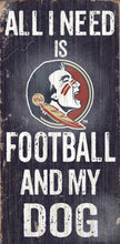 "Load image into Gallery viewer, NCAA College Team Logo Wood Sign - Football and Dog 6""x12"" - Super Fan Cave"