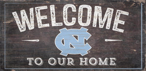 "NCAA College Team Logo Wood Sign - WELCOME TO OUR HOME 12""x 6"" - Super Fan Cave"