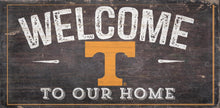 "Load image into Gallery viewer, NCAA College Team Logo Wood Sign - WELCOME TO OUR HOME 12""x 6"" - Super Fan Cave"