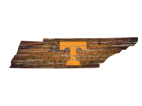 NCAA College Team Logo State Design Wood Sign - Super Fan Cave