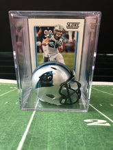 Load image into Gallery viewer, Carolina Panthers mini helmet shadowbox w/ player card - Super Fan Cave