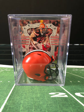 Cleveland Browns mini helmet shadowbox w/ player card