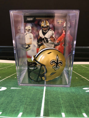 New Orleans Saints NFL mini helmet shadowbox w/ player card