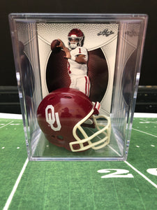 Oklahoma Sooners NCAA mini helmet shadowbox w/ player card - Super Fan Cave