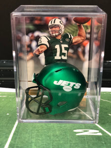 NEW Green New York Jets mini helmet shadowbox w/ player card