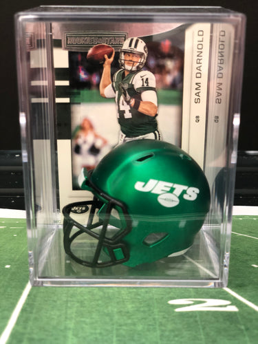 NEW Green New York Jets mini helmet shadowbox w/ player card - Super Fan Cave